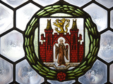 Germany, Bavaria, Munich, Detail of Stained Glass Window in the Neues Rathaus or New Town Hall Photographic Print by John Warburton-lee