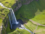 Aerial View of Seljalandsfoss, Seljaland, Iceland Photographic Print by Peter Adams