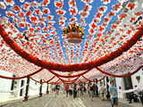 Streets Decorated with Paper Flowers. People Festivities (Festas Do Povo). Campo Maior, Portugal Photographic Print by Mauricio Abreu