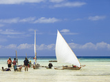 Tanzania, Zanzibar, Unguja Island, Kizimkazi, Fishermen Returning with the Incoming Tide Photographic Print by Nick Ledger