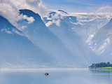 Norway, Western Fjords, Nordfjord, People in Rowing Boat Photographic Print by Shaun Egan