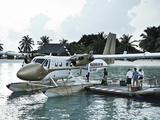 Maldives, Seaplane at Resort Photographic Print by Michele Falzone