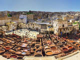 Morocco, Fes, Medina (Old Town), Traditional Old Tanneries Fotografisk tryk af Michele Falzone