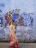 Woman Passing Mural, Bundi, Rajasthan, India Photographic Print by Ian Trower