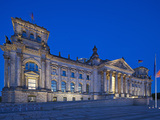 Twilight View of the Front Facade of the Reichstag Building in Tiergarten, Berlin, Germany Photographic Print by Cahir Davitt