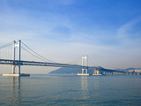 Korea, Gyeongsangnam-Do, BUSAn, Gwangan - Gwangalli Beach, Gwangan Bridge also Know as Diamond Brid Fotografiskt tryck av Jane Sweeney