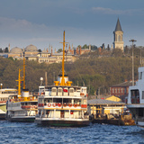 Topkapi Palace and Ferries on the Waterfront of the Golden Horn, Istanbul, Turkeyistanbul, Turkey Photographic Print by Jon Arnold