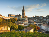 France, Aquitaine Region, Gironde Department, St-Emilion, Wine Town, Town View with Eglise Monolith Photographic Print by Walter Bibikow