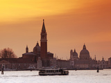 Venice, Veneto, Italy, a Vaporetto Crossing the Bacino Di San Marco Between the Churches of Santa M Photographic Print by Ken Scicluna