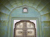 Green Gate in Pitam Niwas Chowk, City Palace, Jaipur, Rajasthan, India Photographic Print by Ian Trower