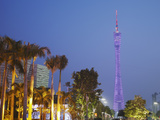 Canton Tower at Dusk, Haizhu District, Guangzhou, Guangdong Province, China Photographic Print by Ian Trower