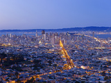 City Skyline Viewed from Twin Peaks, San Francisco, California, USA Photographic Print by Gavin Hellier