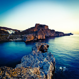 Lindos Acropolis and Harbour, Lindos, Rhodes, Greece Photographic Print by Doug Pearson
