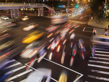 Taiwan, Taipei, Traffic on Road Near Taipei 101 at Night Photographic Print by Jane Sweeney