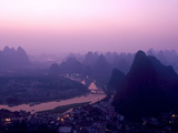 China, Guangxi Province, Yangshuo, the View from Above Yangshuo Just before Sunrise Photographic Print by Nick Ledger