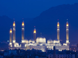 Yemen, Sana'A, Al-Saleh Mosque at Dusk Photographic Print by Nick Ledger