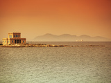 Sicily, Italy, Western Europe, a Villa at Sea with the Egadi Islands Visible in the Background in t Photographic Print by Ken Scicluna