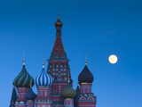 Russia, Moscow, Red Square, Kremlin, St. Basils Cathedral with Moonrise Photographic Print by Walter Bibikow