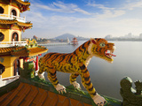 Taiwan, Kaohsiung, Lotus Pond, Dragon and Tiger Tower Temple Photographic Print by Jane Sweeney