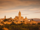 Spain, Castilla Y Leon Region, Segovia Province, Segovia, Town View with Segovia Cathedral Photographic Print by Walter Bibikow