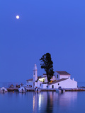Night Scene of Vlacherna Monastery with Moon, Kanoni, Corfu, Greece Fotografie-Druck von Ivan Vdovin