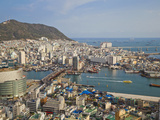 Korea, Gyeongsangnam-Do, BUSAn, View of Harbour and Lotte Tower from BUSAn Tower Photographic Print by Jane Sweeney