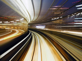 Asia, Japan, Honshu, Tokyo, Pov Blurred Motion Crossing the Rainbow Bridge from a Moving Train Photographic Print by Gavin Hellier