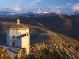 Italy, Abruzzo, Rocca Calascio, the Church of Santa Maria Della Pieta at Sunrise Photographic Print by Nick Ledger