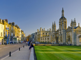 UK, England, Cambridge, King's Parade and King's College on Right Photographic Print by Alan Copson