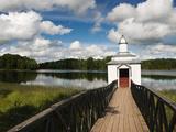 Monastic Bath on Pogostskoye Lake, Pokrovo-Tervenichesky Monastery, Leningrad Region, Russia Photographic Print by Nadia Isakova