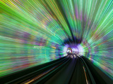 Blurred Motion Light Trails in an Train Tunnel under the Huangpu River Linking the Bund to Pudong,  Photographic Print by Gavin Hellier