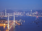 Stonecutters Bridge, Victoria Harbour and Hong Kong Island at Dusk, Hong Kong, China Photographic Print by Ian Trower