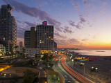 Israel, Tel Aviv, Elevated Dusk View of the City Beachfront Photographic Print by Gavin Hellier