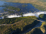 Zimbabwe, Victoria Falls, an Aerial View from Above the Falls Fotografisk tryk af Nick Ledger
