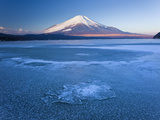 Ice on Lake Yamanaka with Snowcovered Mount Fuji in Background, Japan Photographic Print by Peter Adams