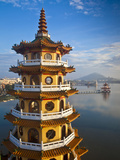 Taiwan, Kaohsiung, Lotus Pond, Dragon and Tiger Tower Temple with Bridge Leading to Spring and Autu Photographic Print by Jane Sweeney