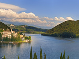 Italy, Umbria, Terni District, Piediluco Lake and Labro on Hilltop Photographic Print by Francesco Iacobelli