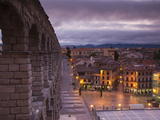 Spain, Castilla Y Leon Region, Segovia Province, Segovia, Town View over Plaza Azoguejo with El Acu Photographic Print by Walter Bibikow
