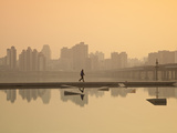 Korea, Seoul, Yeouido, View of City from Hangang Riverside Park at Dawn Photographic Print by Jane Sweeney