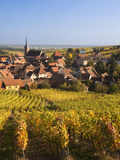 France, Bas-Rhin, Alsace Region, Alasatian Wine Route, Blienschwiller, Town Overview from Vineyards Photographic Print by Walter Bibikow