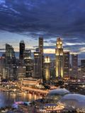Michele Falzone - Singapore, Aerial View of Singapore Skyline and Esplanade Theathre Fotografická reprodukce