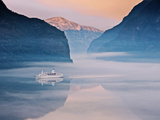 Norway, Western Fjords, Aurland Fjord, Cruise Ship in Fjord Photographic Print by Shaun Egan
