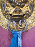 Mongolia, Ovorkhangai, Kharkhorin, Erdene Zuu Monastery, Door Knocker on Temple Door Photographic Print by Jane Sweeney