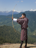 Archery, Datse, Favourite National Sport of the Bhutanese, Archer Practices His Skills on High Chel Photographic Print by Nigel Pavitt