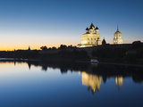 Russia, Pskovskaya Oblast, Pskov of Pskov Kremlin and Trinity Cathedral from the Velikaya River Photographic Print by Walter Bibikow