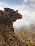 Yemen, Sana'A Province, Bokhur Plateau, a Car Perched on a Cliff Top Photographic Print by Nick Ledger