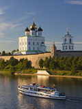Russia, Pskovskaya Oblast, Pskov of Pskov Kremlin from the Velikaya River Photographic Print by Walter Bibikow
