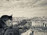 France, Paris, View from the Cathedrale Notre Dame Cathedral with Gargoyles Photographic Print by Walter Bibikow