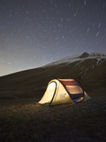 Italy, Umbria, Perugia District, Monti Sibillini Np, Norcia, Tent under the Star, Startrail with Po Photographic Print by Francesco Iacobelli