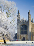 UK, England, Cambridgeshire, Cambridge, the Backs, King's College Chapel in Winter Photographic Print by Alan Copson
